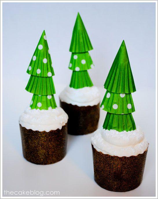 a simple DIY to make you smile   Cupcake Liner Christmas Trees