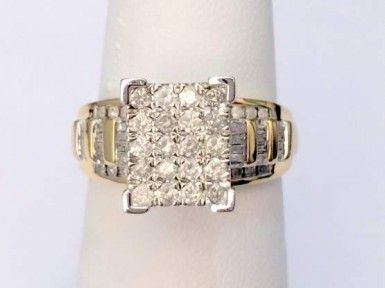 10k Yellow Gold 1.00ct Round Diamonds Engagement Bridal Cinderella Ring Band #gold #diamond #bridal #engagement #wedding #ring #fashion #jewelry #jewelryring #diamondring #engagementring #fashionring #lovely #Richmondgoldanddiamonds