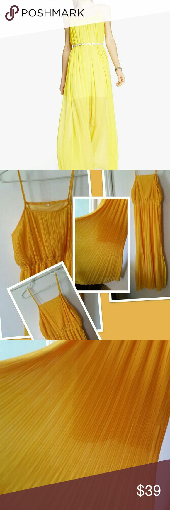 Chiffon yellow Maxi dress 👗 NWOT. Didn't wear at all.. Chiffon/sheer maxi dress 👗, showed large but run 💪big in the underarm area.  Firm price at $30 until 🙏😫🙏🙏💓please don't lowball!! boutique Dresses Maxi