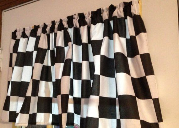 Window Curtain Kitchen Or Boys Room Valance Black And White 2 1 2 Checkered Flag Nascar Cotton Fabric Man Cave Valance Curtains Valance Curtains