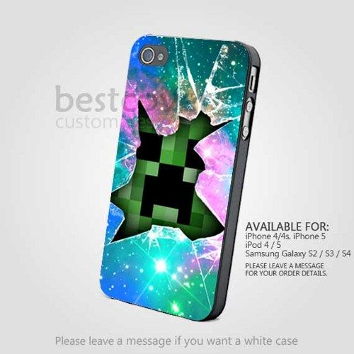Minecraft Creeper Glass Broken for iPhone 4/4S/5 iPod 4/5 and Samsung Galaxy S3/S4 | BestCover - Accessories on ArtFire