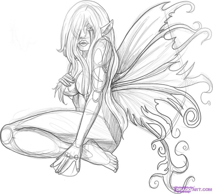 black and white fairy pictures | Faces Dark Fairy Tattoo ...