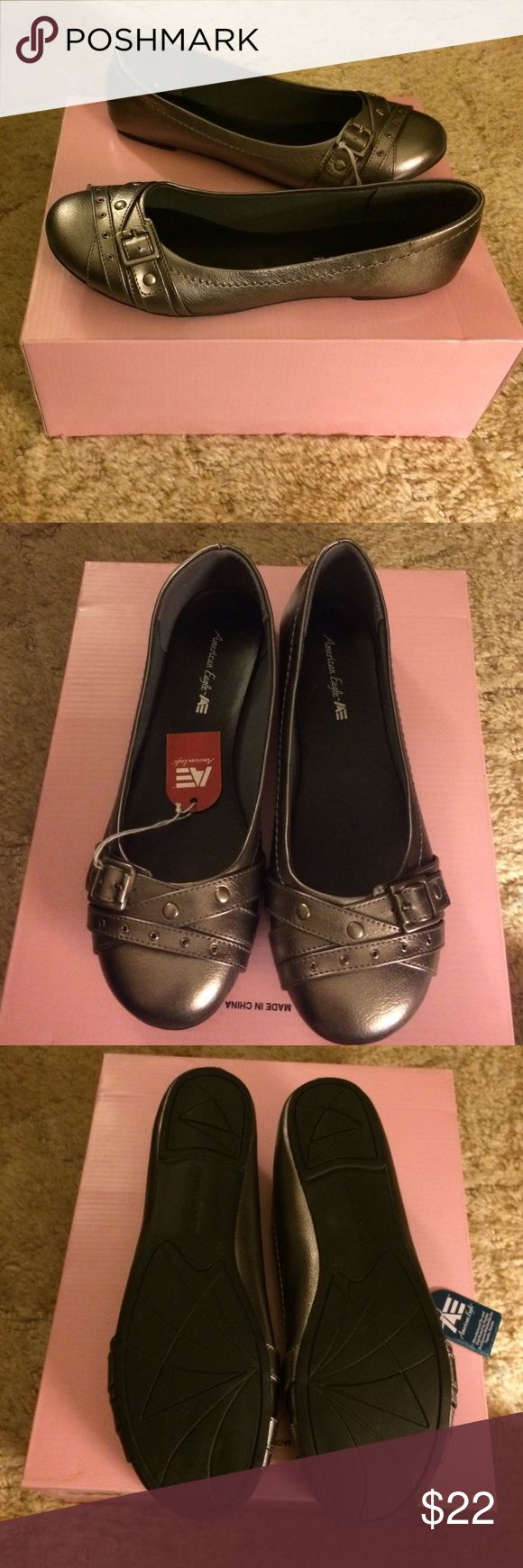 Silver flat shoes Never worn with tags American Eagle Outfitters Shoes Flats & Loafers