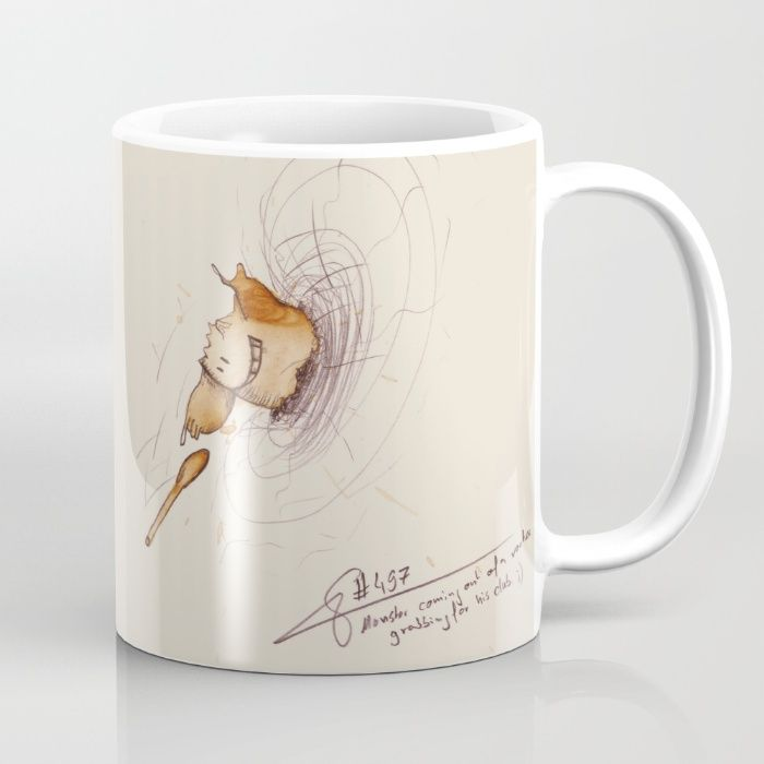 #coffeemonsters 497 Mug funny and cool art coffee mug with monsters made from coffee stains