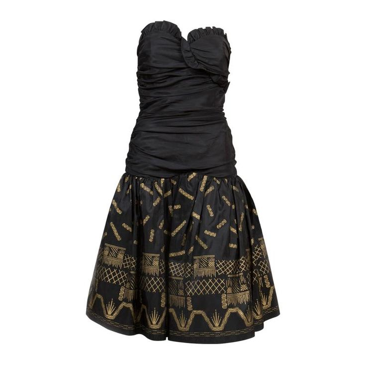 Zandra Rhodes  Silk Taffeta Black and Gold Painted Evening Dress | From a collection of rare vintage evening dresses and gowns at https://www.1stdibs.com/fashion/clothing/evening-dresses/