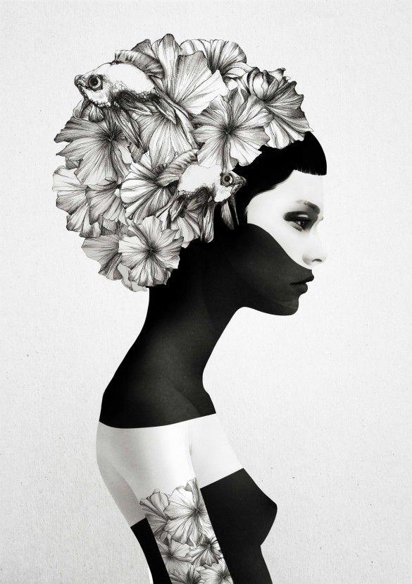 10 amazing t-shirts: black and white feminine portraits from the surreal universe of Ruben Ireland - fancy-tshirts.com
