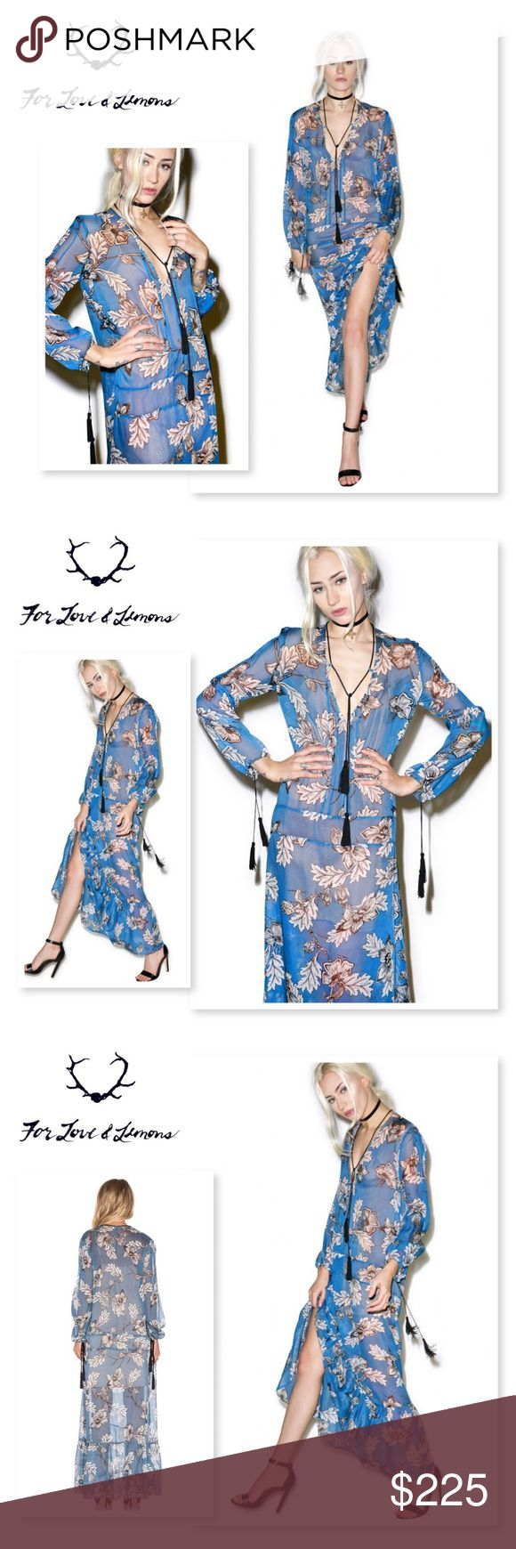 NWT FOR LOVE & LEMONS SANTA ROSA SILK MAXI NWT For Love & Lemons Santa Rosa Maxi Dress is gonna billow around ya like the breeze in wine country.This gorgeous long sleeve maxi dress is constructed from a luxe silk chiffon that perfectly flows over yer body with an effortless loose fit. Featuring an all over intricate hand-drawn floral design, open neckline, tassel details and ruffled hemline. Slip NOT included. For Love and Lemons Dresses Maxi