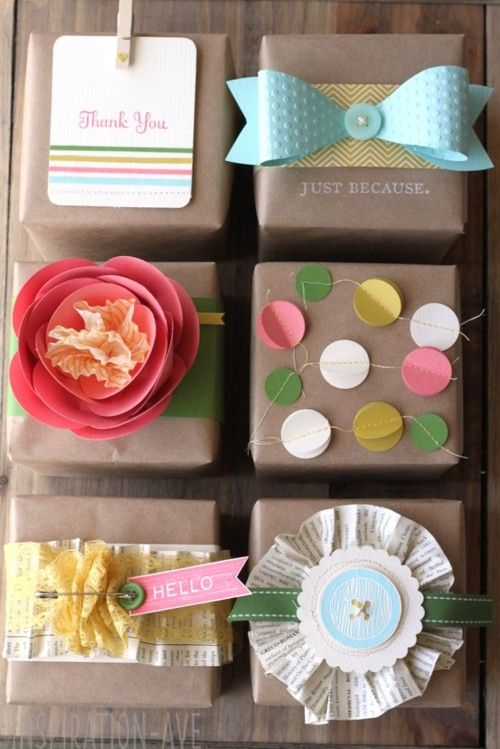 fun ways to decorate craft paper-wrapped gifts