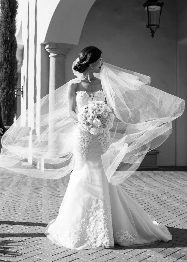 Samuel Lippke Studios, wedding day, wedding dress, long veils, lace, delicate details, beautiful bride, bewildering bouquet, black & white photography, wedding photographer, featured on LoveLuxeLife, see more at www.loveluxelife.com, #weloveluxelife