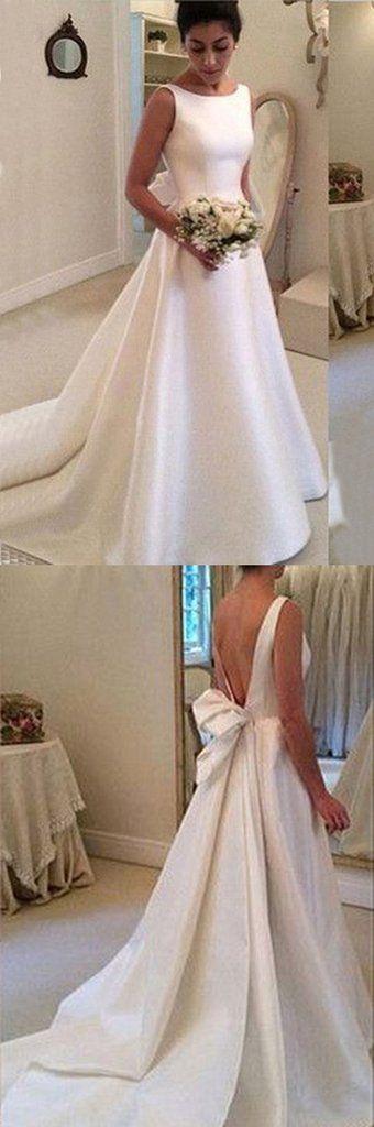 White satins round neck bowknot backless train wedding dress, handmade dresses