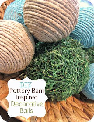 DIY Pottery Barn Inspired Decorative Balls- make these balls for a fraction of a the price! SixSistersStuff.com #craft #DIY #homedecor