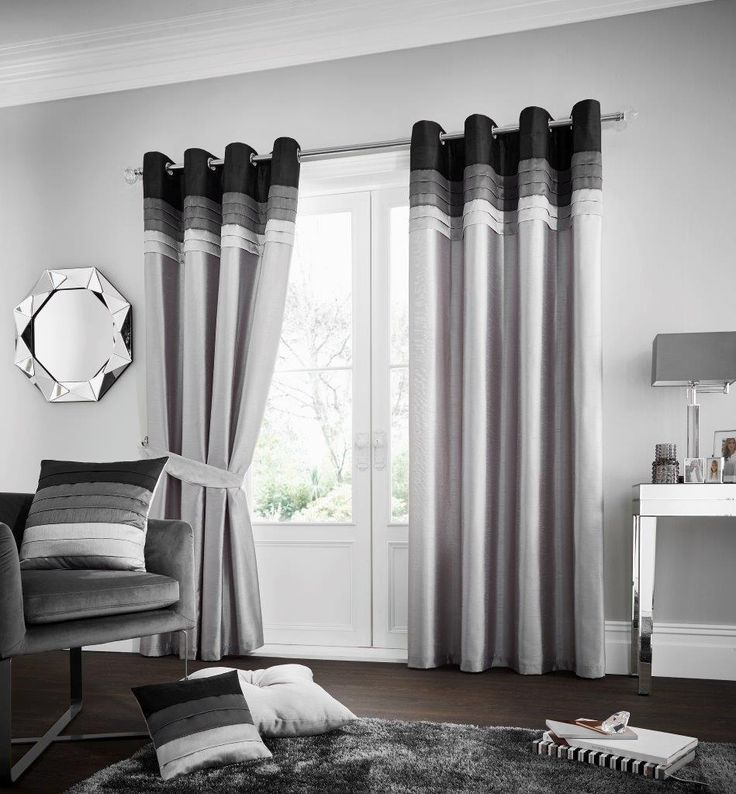 La Moda Grey Lined Eyelet Curtains – Linen and Bedding