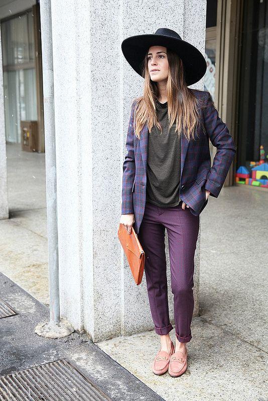 Gala Gonzalez Amlul | Stefanel suit Gucci 1953 horsebit loafers Zara hat #streetstyle