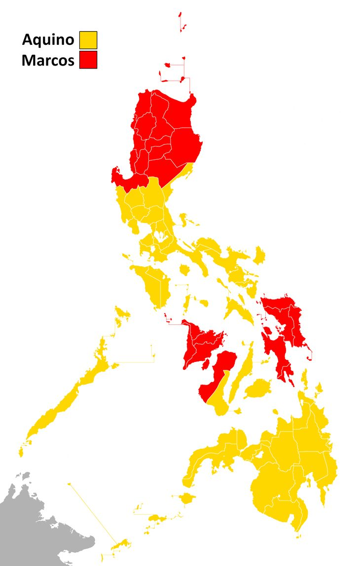 1986 Philippine presidential election results per province