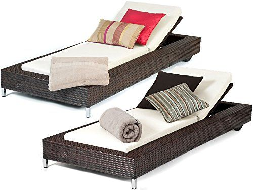 Set of 1 or 2 Tuscany Outdoor Contemporary Brown Rattan Wicker Garden Reclining Sun Lounger - Fully Assembled---293.25---