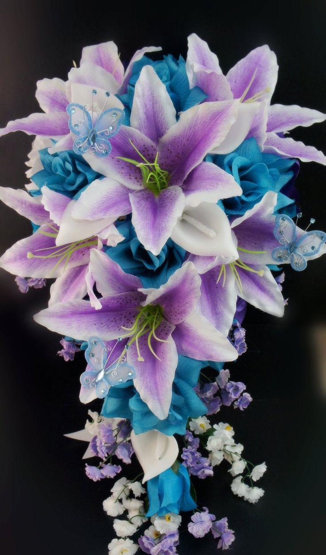 Amazon.com - 13pc Wedding Bridal Party Bouquets Boutonniere-turquoise, purple, silver Silk Roses Flowers - Artificial Mixed Flower Arrangements