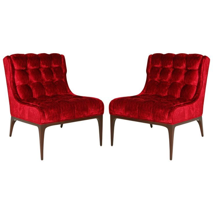 Exceptional Pair Of Biscuit Tufted Slipper Chairs  Love Them In Red And Bold Colors