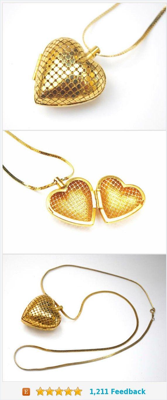 Gold Mesh Heart Locket necklace - Puffy Heart Pendant - 30 inch Gold flat chain - https://www.etsy.com/serendipitytreasure/listing/557670478/gold-mesh-heart-locket-necklace-puffy?ref=listing_published_alert