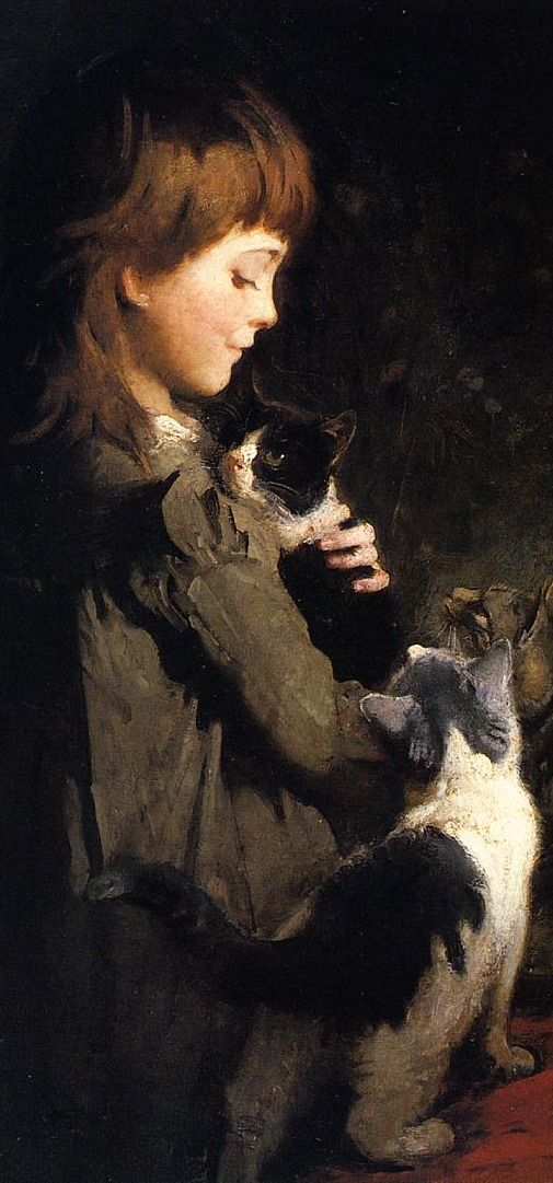 (♥) Detail of Favorite Kitten by Abbott Handerson Thayer (August 12, 1849 – May 29, 1921) was an American artist, naturalist and teacher. A painter of portraits, figures, animals and landscapes,