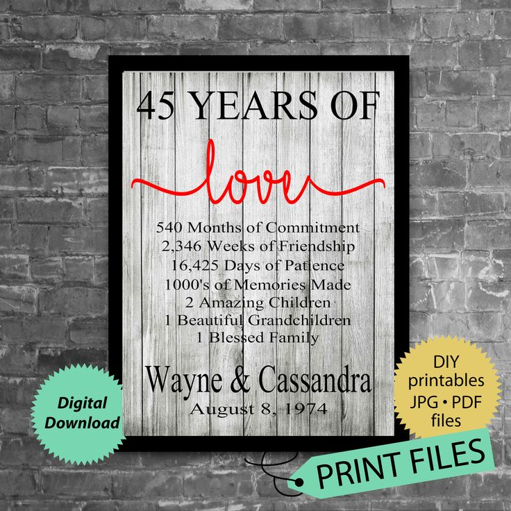 45th Anniversary Gift Anniversary Gift for Husband and