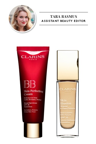 Clarins BB Skin Perfecting Cream in Light and Clarins Skin Illusion Foundation in Sand     $40, available at Clarins; $38, available at Clarins.