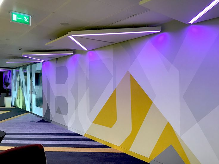 Level 39 - Office interior. Floor to ceiling hand-painted murals & glass manifestation