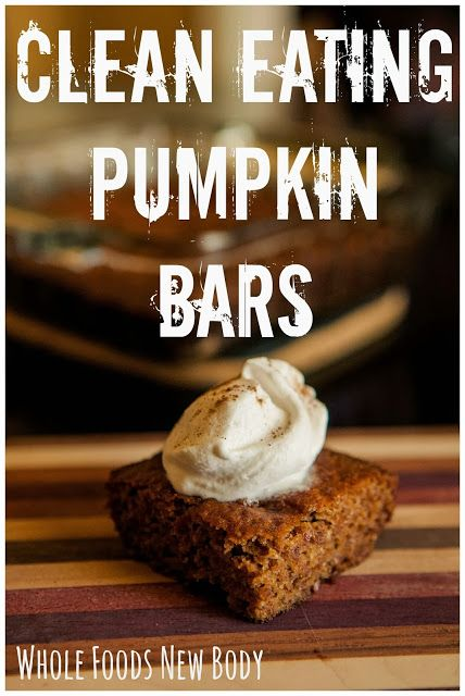 {Clean Eating Pumpkin Bars} Super simple and delicious!- Update- the only pumpkin bars I made last fall tasted like a poo (well, what I'd imagine is a poo taste). they were quinoa ones and I'm terrible at following recipes so I strayed. I am determined to try these and stick to the recipe next time... next fall ;)