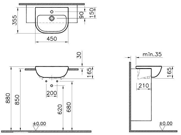 Vitra - S20 45cm Short Projection Semi-Recessed Basin - 1 Tap Hole at Victorian Plumbing UK