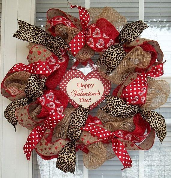 """""""WILD VALENTINE"""" - XL Chic Burlap Valentine's Day Wreath Decoration by DecorClassicFlorals, $99.95"""