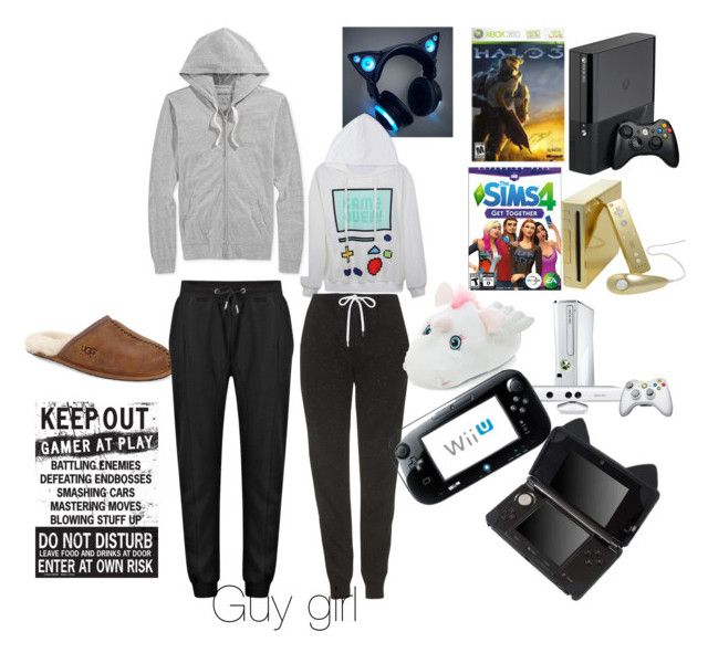 """""""Video game night date"""" by fashiondiva76 ❤ liked on Polyvore featuring Topshop, UGG Australia, American Rag Cie, women's clothing, women, female, woman, misses and juniors"""