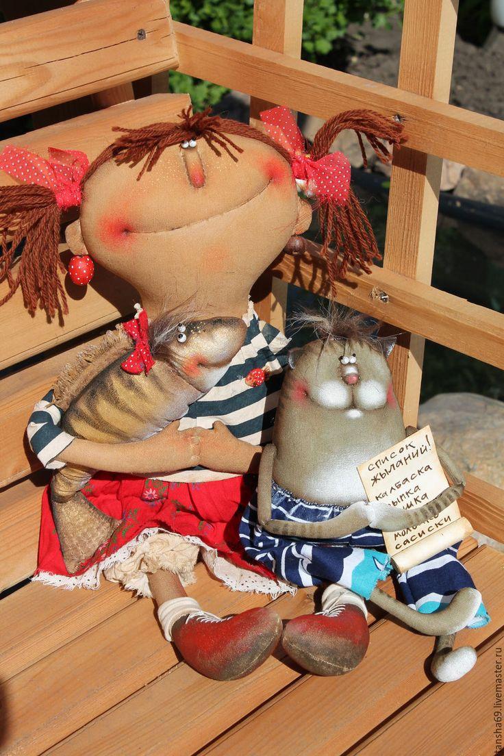 Купить ...Нету рыбки золотой!... - комбинированный, текстильная кукла, ароматизированная кукла, интерьерная кукла, котик