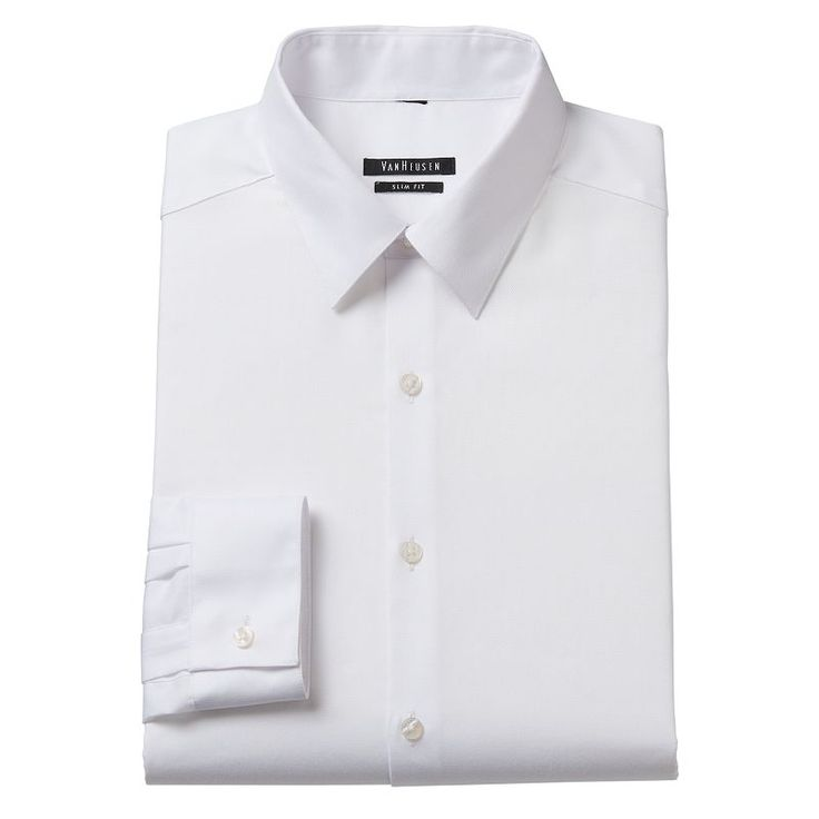 Men's Van Heusen Slim-Fit Wrinkle-Free Point-Collar Dress Shirt, Size: 18.5 36/37, White Oth