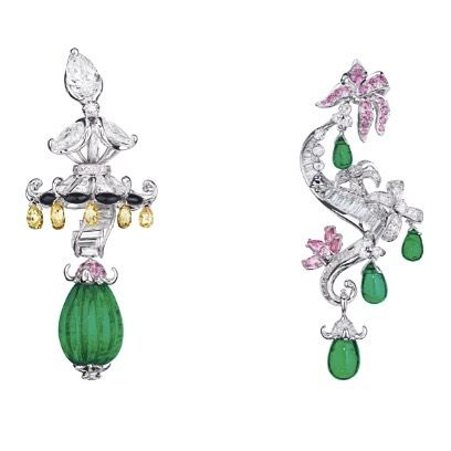 Dior Joaillerie. Via Elena Veselaya (@twentyonejewels) on Instagram: Emerald, sapphire and diamond earrings, Dior a Versailles collection, by Dior. @dior