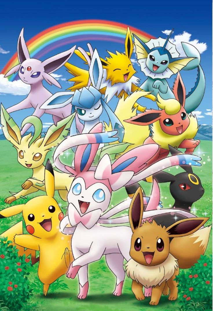 Pikachu & the Eeveelutions! This picture makes me so happy