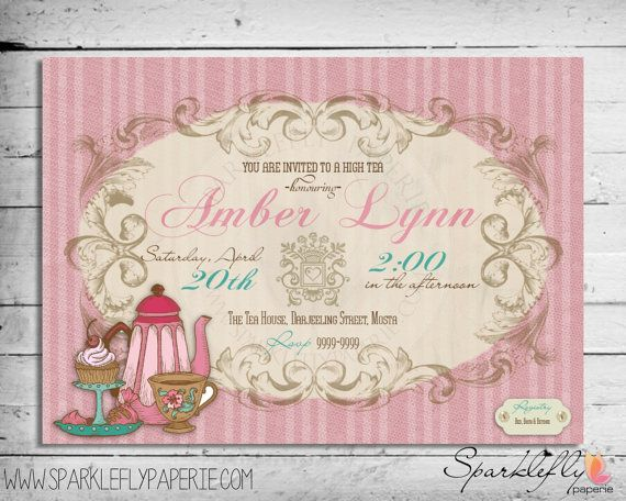 Vintage High Tea Party Invitation Bridal Shower / Baby Shower / Birthday (Custom DIY Printable)
