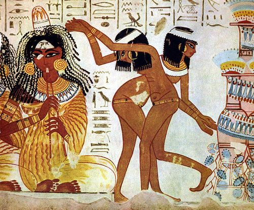 Dancers and Flutists, with an Egyptian hieroglyphic story, 1420-1375 BCE