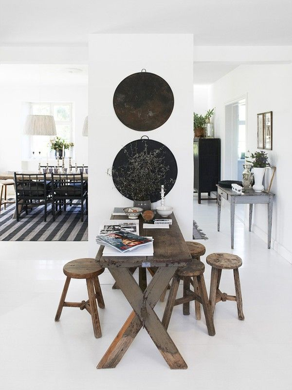 rustic table, white walls