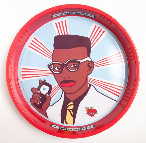 Fun 'Boy' tin tray by Cape Town textile studio Shine Shine - perfect for parties. In sale at £15 at Porcupine Rocks, atelier of African craft