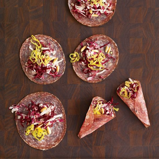 Soppressata Bundles with Radicchio and Goat Cheese // More Tasty Snacks: http://www.foodandwine.com/slideshows/tasty-snacks #foodandwine