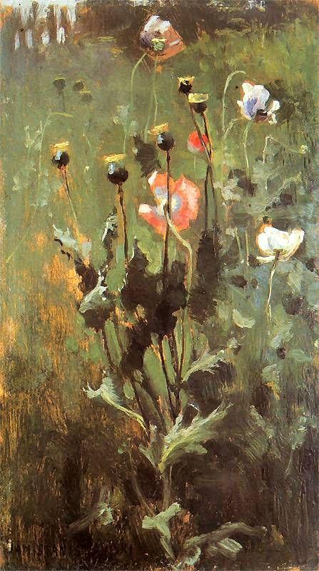 Blooming poppies - Jan Stanisławski ,1887. Polish, 1860-1907 Oil on board. 21.3 x 12 cm