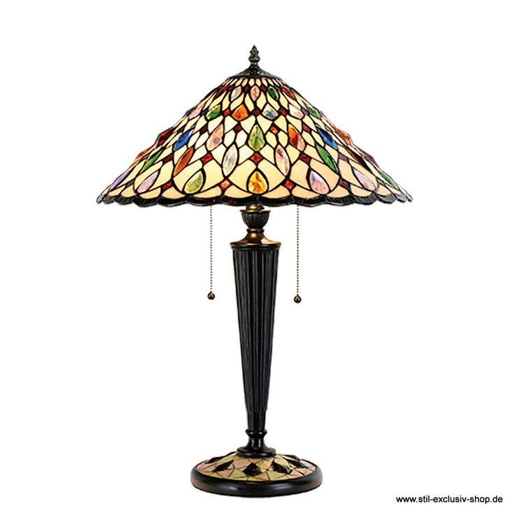 """Elegante TIFFANY-Tisch-Lampe MULTICOLORI  45*61 cm 3x E27/ je 60W. mit praktischer Zug-Schaltung.  aus ausgesuchten TIFFANY-Gläsern handgefertigt, mit auffallend vielen vielfarbigen """"Jewels"""".  Auffallend ist weiterhin der Fuss-Sockel mit passend eingelegtem Glas-Mosaik."""