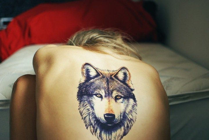 Want a small black and grey version of this wolf tattoo, on ribs?