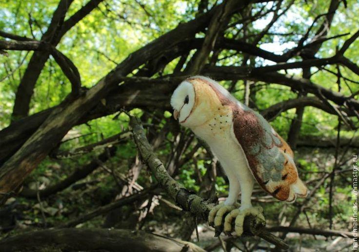 Купить Птенец сипухи (игрушка из шерсти) - белый, сова, сипуха, валяние из шерсти, Сухое валяние