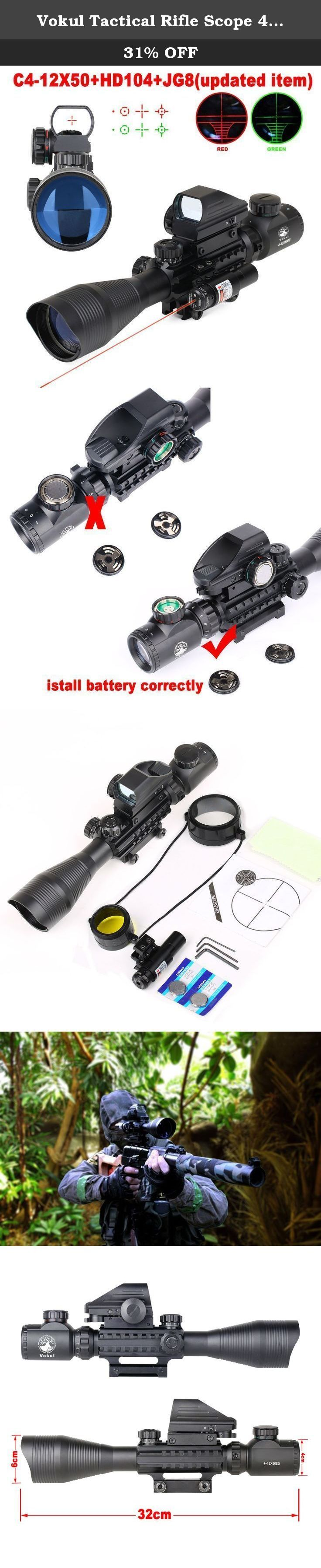 Vokul Tactical Rifle Scope 4-12x50EG Dual Illuminated Gun Scope and 4 Tactical Multi Optical Coated Holographic Red and Green Dot Sight for Hunting AR15 W/ 22mm Rail Mount. 4-12x50EG RIFLE SCOPE Magnification:4x-12x Objective lens diameter (mm/in): 50/1.9