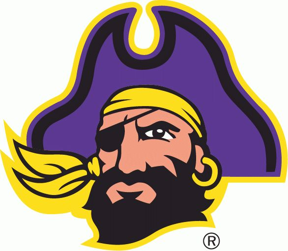 East Carolina Pirates Primary Logo (2004) - A pirates head with purple hat