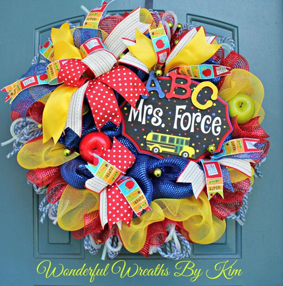 Back to school wreath Teacher appreciation by WonderfulWreathsKim