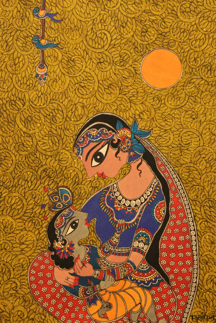 Madhubani painting- Baby Krishna  with  mother  Yashoda