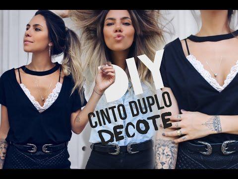 DIY:CINTO DUPLO E DECOTE CAMISETA por @dicadaka - YouTube