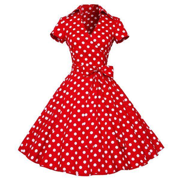 Vintage Women's V-Neck Polka Dot Print Short Sleeve Ball Dress