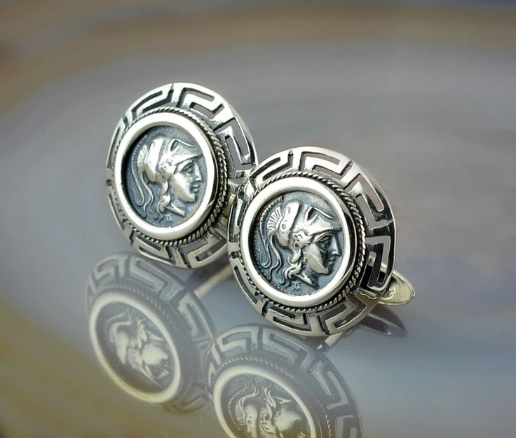 Athena Greek Key silver cuff links, greek key cuff links, antique cuff links, cuff links, cuff links for men, silver cuff links by GreekGoddessJewelry on Etsy